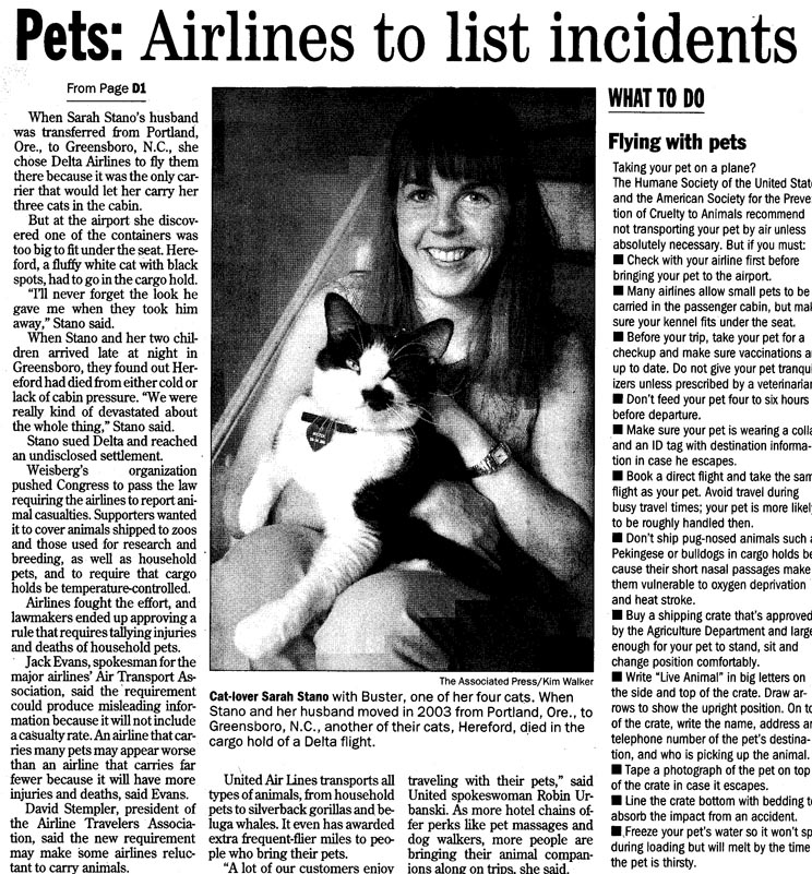 Airlines to list incidents | TLC Pet Transport